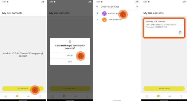 Hövding App guide: Add ICE contacts