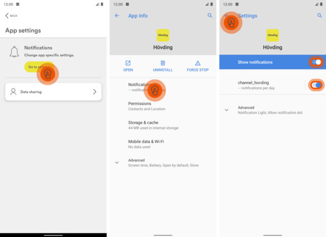 Hövding App: Settings and permissions